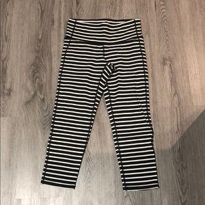 Athleta Mid-rise black and white striped Capri